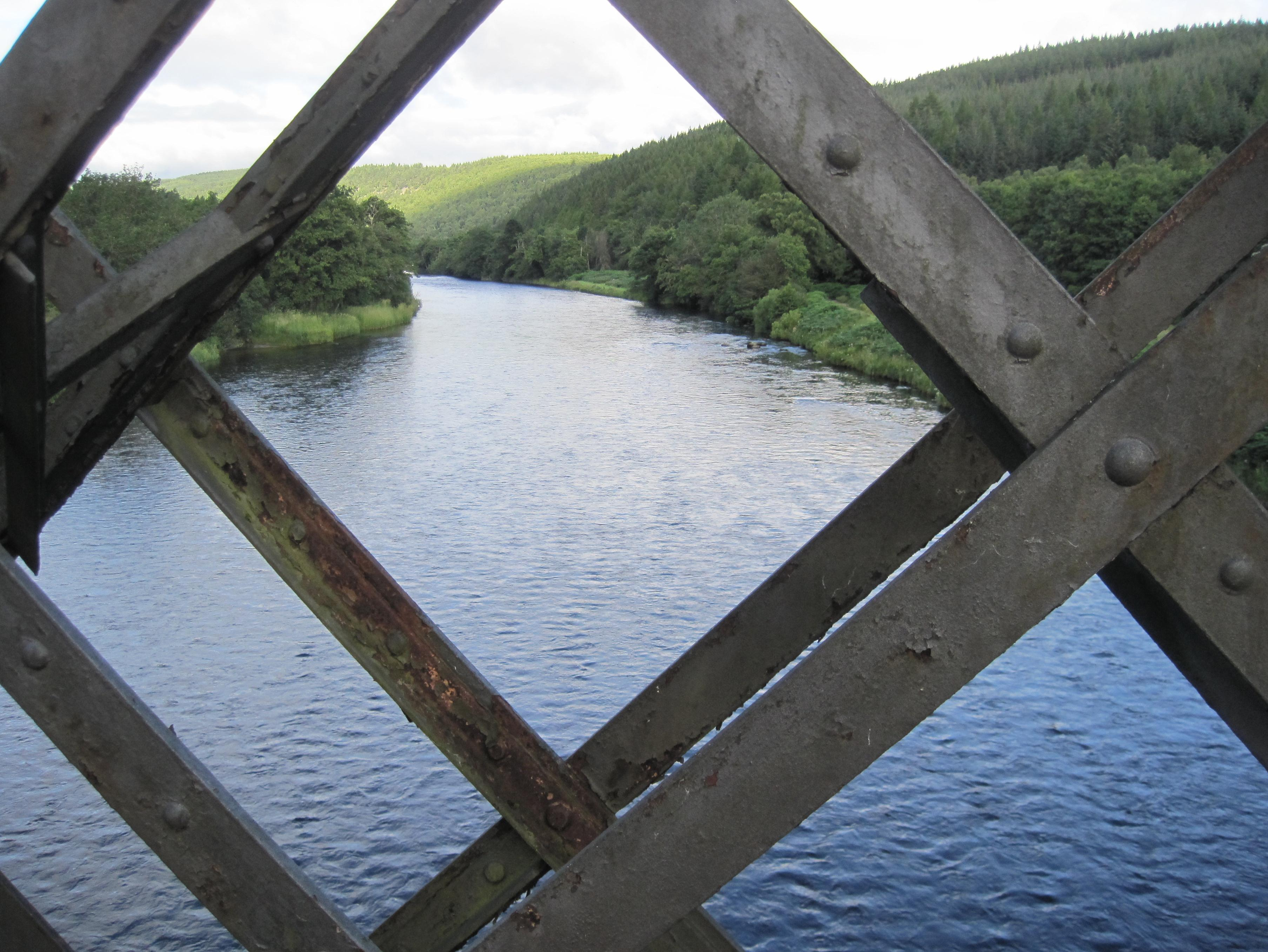 Footbridge over the Spey as the route leaves Ballindalloch