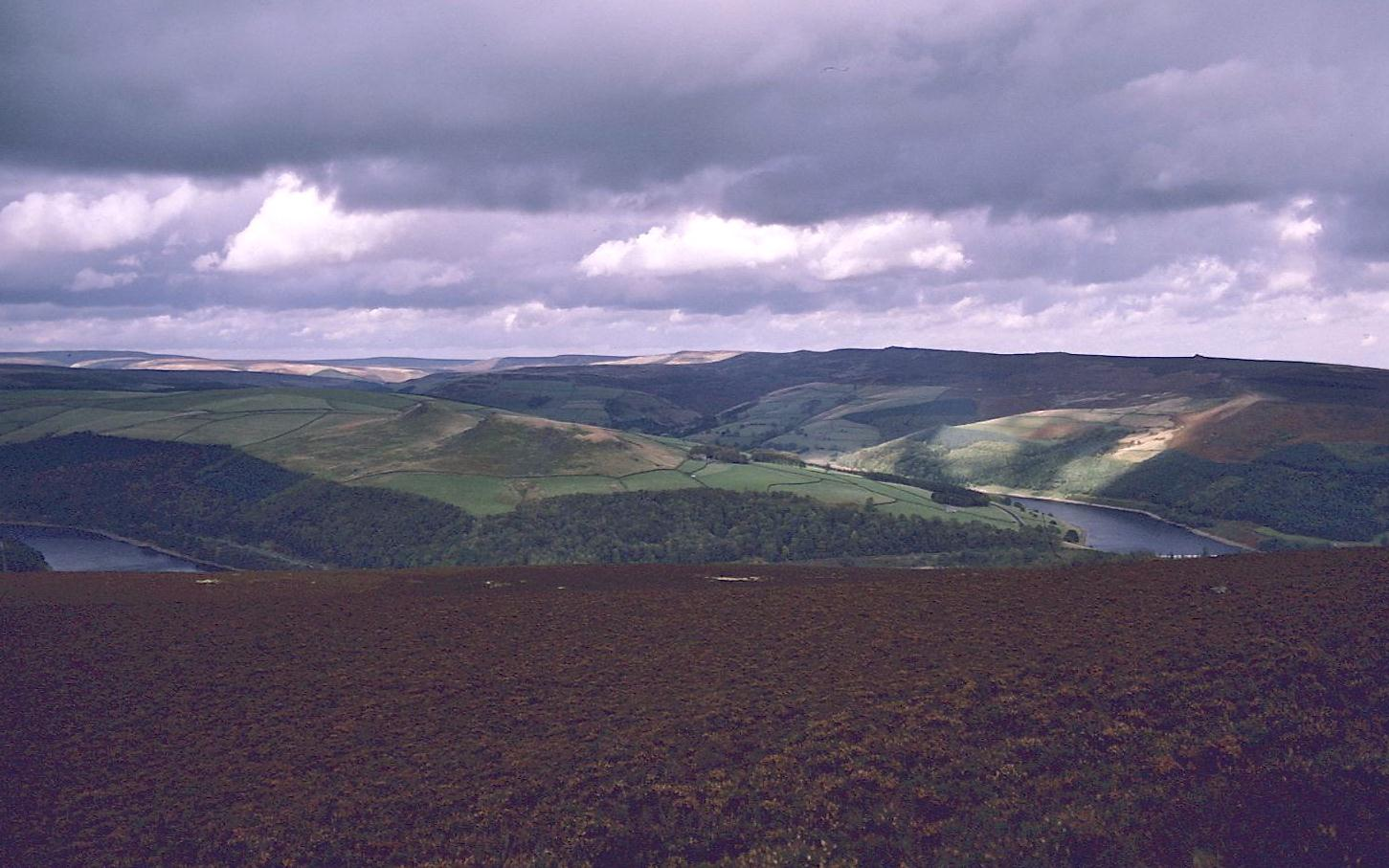 Parts of the Ladybower Reservoir as seen from the summit of Win Hill.